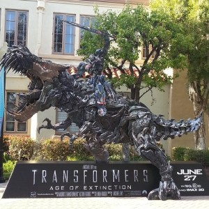Transformers News: Transformers: Age of Extinction Optimus Prime Riding Grimlock Display at Paramount