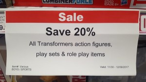 Steal of a Deal: Toys R Us 20% off Transformers in store sale
