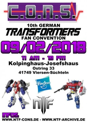 German Transformer Fan Convention C.O.N.S. X is on 2nd of September 2018