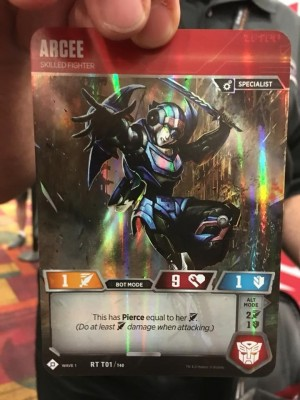 Arcee and Demolisher revealed for the Official Transformers Trading Card Game