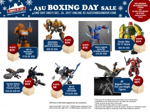 Transformers News: Ages Three and Up Boxing Day 2017 Sale