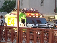 Transformers News: Transformers 3 continues filming in Chicago: Video of fire gets put out, actors running, and Ratchet speeds across bridge!