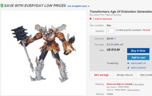 Transformers News: 50% off at Hasbro's Ebay Store