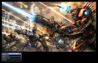 "Emiliano Santalucia Transformers: Dark of the Moon Concept Art ""Autobot Fire Fight"""
