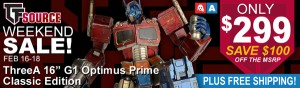 Transformers News: TFSource News! Weekend Sale -ThreeA G1 Prime Classic Ed. Only $299! MT Thunder Manus Instock & More!