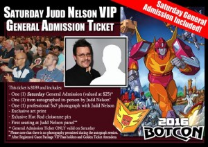 Transformers News: Botcon 2016 Update: General Admission Package Order up for Judd Nelson Access