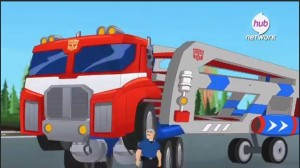Transformers News: Transformers: Rescue Bots Optimus Prime Racing Trailer with Mirage Listing
