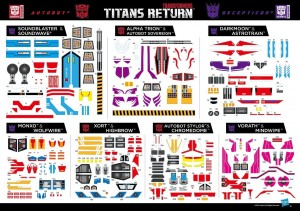 Titans Return Asia-exclusive Sticker Sheet for Wave 2 Deluxes, Voyagers and Leaders revealed