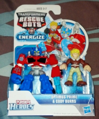 Transformers News: In-package Images of Rescue Bots Energize Optimus Prime with Cody Burns and Bumblebee with Graham Burns