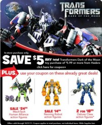 "Save $5.00 at Toys""R""Us on Transformers DOTM Purchases of $5.99 or More"