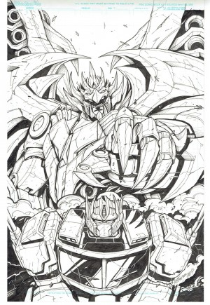Transformers News: Inked Lineart for Variant Cover IDW Optimus Prime #16 by Marcelo Matere