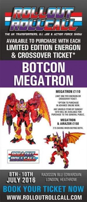Transformers News: Roll Out Roll Call: Botcon 2016 Megatron and Airazor up for Purchase by Energon and Crossover Ticket