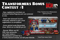 Transformers News: DASH is Back with a Free Chance to win a Masterpiece Optimus Prime