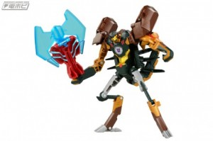 Takara Tomy Transformers Adventure TAV-53 and 54 Sideswipe and Scorponok Stock Images