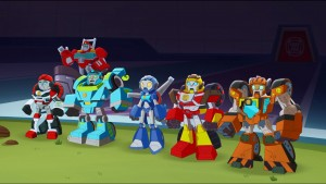 Script Writing Team Double Z writing scripts for Rescue Bots Academy