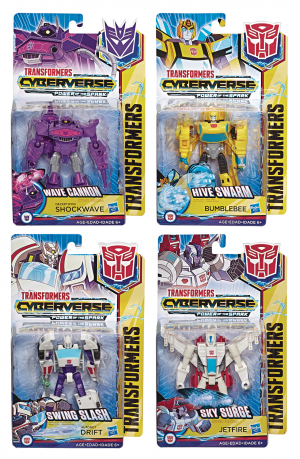Transformers Cyberverse Warrior Class Wave 5 Assortment with Drift, Jetfire, Bumblebee and Shockwave