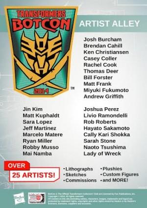 BotCon 2014 Artist Alley Official Press Release