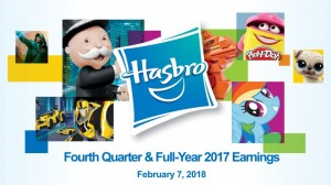 Transformers News: Hasbro Reports Full-Year and Fourth Quarter 2017 Financial Results