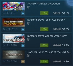 Transformers News: Steal of a Deal: Transformers: War For Cybertron, Fall of Cybertron, Rise of the Dark Spark, and Devastation On Sale On Steam