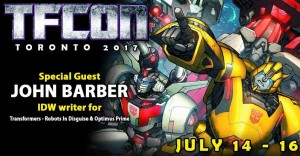 IDW Writer John Barber to Attend TFcon Toronto 2017