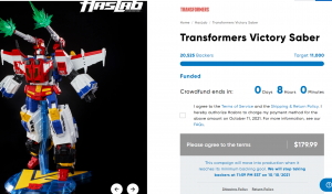 HasLab Transformers Victory Saber Reaches 20 000 Backers, All Tiers Funded