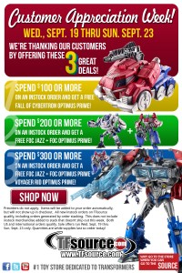 Transformers News: TFsource Customer Appreciation Week!