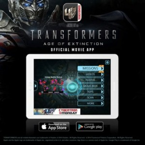 Transformers News: Advertisement for Transformers: Age of Extinction movie app, available now on iOS and Android