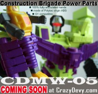 Transformers News: CrazyDevy.com CDMW-05 Add-On Hands for G1 Devastator