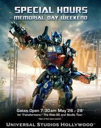 Universal Studios Hollywood Transformers: The Ride 3D Opening at 7:30 AM Memorial Day Weekend