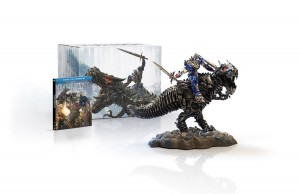 Transformers: Age of Extinction Limited Edition Gift Set with Grimlock and Optimus Collectible Statue Blu-ray