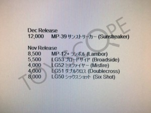 Confirmation of MP-12+ Sideswipe and Takara Legends Misfire, Sixshot, Broadside & Doublecross