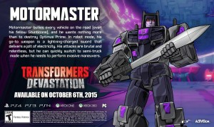 Transformers News: Transformers: Devastation Character Bio Update - Motormaster