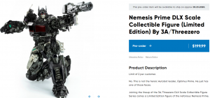 Limited Edition 3A BB Nemesis Prime up for preorder on Hasbro Pulse with stock photos
