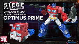 Transformers News: WFC Siege 35th Anniversary Classic Animation Optimus Prime and Megatron, Bluestreak, Soundblaster stock photos