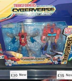 Transformers News: Cyberverse Warrior Class Optimus Prime And Starscream 2 Pack Found At UK Retail