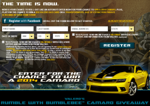 Transformers News: Valero's Rumble with Bumblebee Camaro Giveaway