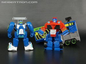 Transformers News: New Galleries: Rescue Bots Optimus Prime Racing Trailer with Blurr