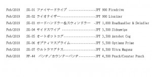 Release dates and prices for Takara Tomy Transformers: War for Cybertron - Siege