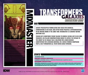 IDW Transformers Galaxies Constructicons Rising Profile Tech Specs for Mixmaster and Scrapper