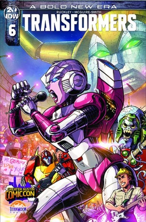 Cybertronic Spree Homage on Variant Cover for IDW Transformers 6