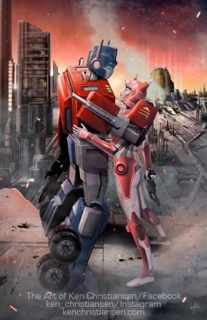 Transformers News: BotCon 2016 Art Prints: Ken Christiansen on Optimus and Elita One and More