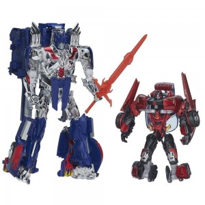 Transformers News: Steal of a Deal: Age of Extinction Leader Class Optimus Prime with Sideswipe for $59.99 on HTS