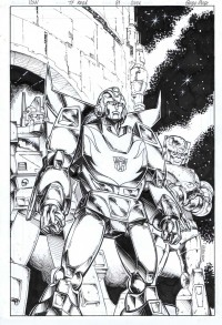 "Transformers News: Guido Guidi Original Transformers Regeneration One #81 ""Retro Style"" Variant Cover Original Art Up for Auction"