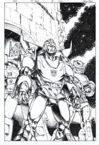 """Guido Guidi Original Transformers Regeneration One #81 """"Retro Style"""" Variant Cover Original Art Up for Auction"""