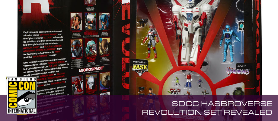 SDCC exclusive Hasbroverse Revolution boxset featuring Transformers, ROM, M.A.S.K., GI Joe, Micronauts and more