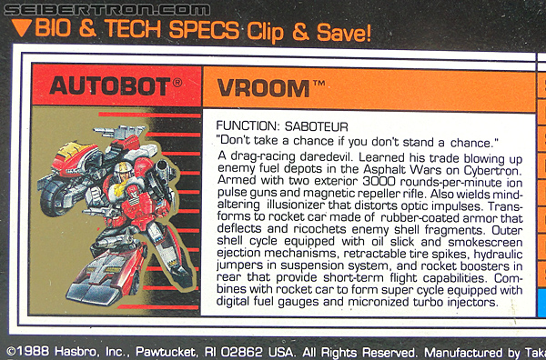 Transformers G1 1989 Vroom (Image #24 of 219)
