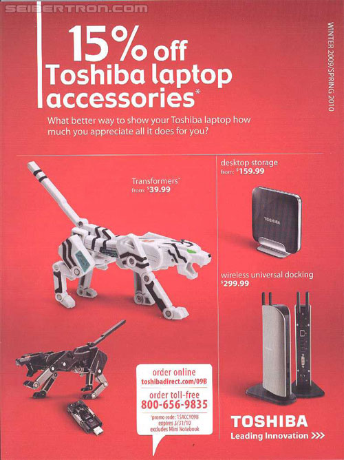 Scans of Toshiba Transformers Device Label Sales Advertisement
