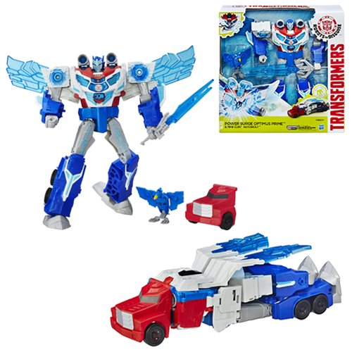 Transformers News: Transformers Robots in Disguise Power Surge Optimus Prime Stock Photo