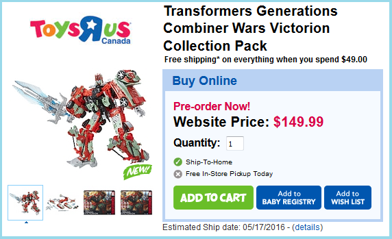 Transformers News: Transformers Combiner Wars Fan-Built Victorion - Pre-Order Up At ToysRus.ca