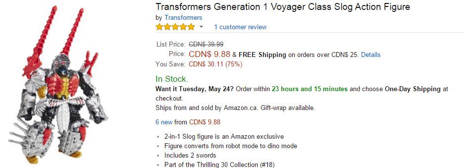 Transformers News: Crazy Deal: 75% Off Amazon Exclusive Transformers G1 Deco Voyager Slog + Amazon Deal Rundown